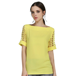 Wholesale Summer Loose Blouses - Summer Trendy Blouse Sexy Women Ladies Hollow Sleeve Slash Neck Loose Solid Shirts Plus Size Casual Tops