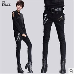 Wholesale Women Harem Pants Korea - AceCool HQ New Spring Streetwear Women Pants Jeans Casual Trousers Korea Women's Harem Pants Hip-Hop Streetwear