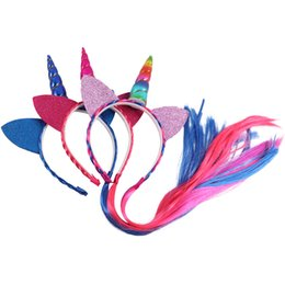 Wholesale Wholesale Cat Ear Headband - Baby Girls Kid Fashion Unicorn Hair Band With Hair Extension Cat Ear Headband For Cosplay Wholesale