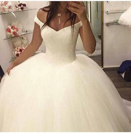 Wholesale Dress For Friend Wedding - Organza Tulll Ball Gown Wedding Dresses Stuning Crystal Beaded Off-shoulder Sweetheart Two pieces Dresses Together For My Friend