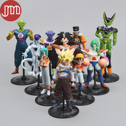 Wholesale Crazy Action Figures - New 10 PCS Dragon Ball Z Goku Gohan Roshi Piccolo Freeza DragonBall 5-10cm PVC Action Figures Model Toys Crazy Party Kids Gifts