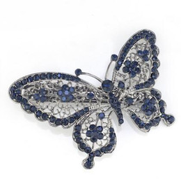 Wholesale Wholesale Jewelry Alexandrite - Amazing Butterfly Hairpin Blue Crystal Headwear Barrette Hair Clip Headwear Accessories Jewelry For Woman Girls