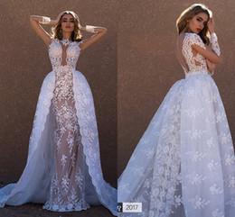 UK wedding dress line sheath - 2017 Lace Detachable Wedding Dresses Nude Lining Bridal Sheath Illusion Back Vintage CheapArabic Sheer Wedding Dress Appliques Bridal Gowns