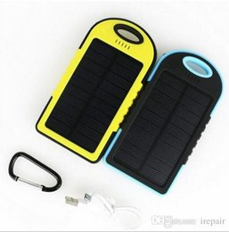 Wholesale External Cell Phones Battery Charger - 5000mAh Solar IP4X4 Waterproof External PowerBank Battery Pack Dual 5000 mah USB Power bank Charger for cell phones