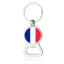 Wholesale france jewelry - Beer Bottle Opener Key Chains France Barbados Paraguay Panama Bulgaria Flag Car Keyrings EDC Men Fashion Jewelry