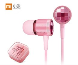 Wholesale Diamond Earphone Headphones - New Xiaomi Piston 2 Pink Color Earphone Crystal Diamond Headphone Headset for Xiaomi Samsung HTC Huawei LG DHL Free
