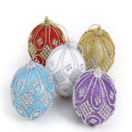 Wholesale White Christmas Ornament Balls - 6Pcs Christmas Tree Hanging Beads Chain Balls Diameter 8Cm Upscale Decorations Crystal Ball Xmas Home Party Wedding Ornament