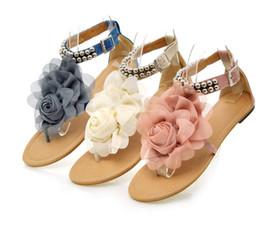 Wholesale Flat Back Flower Beads - 2016 Hot sell Fashion women's Girl Flat Beads Flower Sandal Women's Sandal Shoes