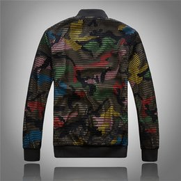 Wholesale Cool Male Jackets - Cool music personality new Korean Slim Jacket Men hollow baseball jacket men camouflage shirt tide male baseball clothing