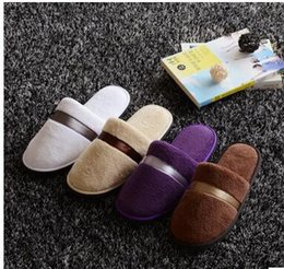 Wholesale One Size Slippers - 5 colors Soft Hotel SPA Non-disposable Slippers Velvet Colored 8mm Thick Sole Casual Terry Cotton Cloth Spa Slippers, One Size Fits Most