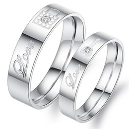 Wholesale Korean Ring Prices - Free Shipping Stainless Steel Couple Rings Korean Jewelry, lock  key his and hers promise ring sets, 2 pieces price 313