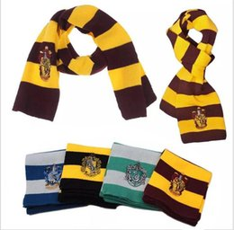 Wholesale women halloween costumes - Halloween Costumes College Scarf 4 Styles Harry Potter Gryffindor Series Scarf With Badge Cosplay Knit Scarves