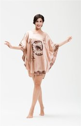 Wholesale Plus Size Satin Pajamas - Nukawa Women's Batwing Sleeve Pullover Nightgown Dress Satin Robe Plus Size Pajamas