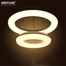 2 Rings LED Pendant Light Fixture Modern White Acrylic Hanging Lustre Lamp Suitable For Living Room Dining Pendants