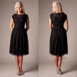 c08b202268bb Discount tea length bridesmaid dresses styles - Beach Style A Line Vintage  Black Lace Short Modest