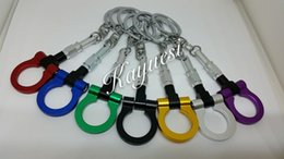 Wholesale Front Tow Hook Black - automobileTowing Hooks keychainHigh quality Racing car CNC Metal Anodized Front Towing Hooks keychain Keyrings key chain ring 7 colors
