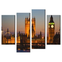 Canada 4 images murales combinaison art pour décoration de la maison Big Ben chambre du Parlement Westminster Bridge Dusk Londres cheap arts architecture Offre