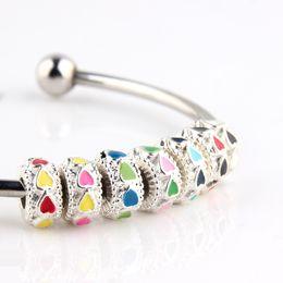 Wholesale Tibetan Red Bead Bracelet - 50pcs lot wholesale Tibetan silver heart shape enamel silver beads for Pandora bracelet women DIY jewelry