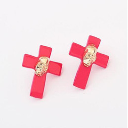 Wholesale Retro Cross Earrings - Retro Punk Skull Earrings Cross Stud Earrings Charm Jewelry Golda Skull Cross Stud Earrings Punk Stud Earring