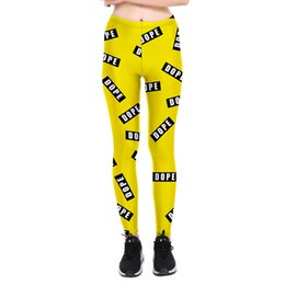 Wholesale Dope Knit - New Arrival Women Legins Dope Yellow Printing Patch Fashion Legging High Waist Slim Woman Leggings Pants Femme Trousers