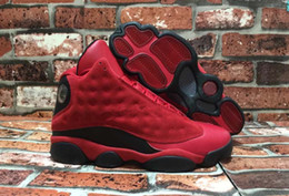 2017 amour rouge Vente en gros Retro 13 XIII What Is Love 13s Sneakers Black Red Suede Hommes Chaussures de basket-ball Hommes Cheap Sneakers À vendre 888164-601 Super qualité amour rouge sortie