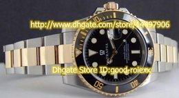 Wholesale Two Tone Luxury Watches - Luxury Mens Automatic Black Dial Ceramic Bezel Watch Men's Sapphire Two Tone Steel Gold Date 116613 Sports Men Dive Watches
