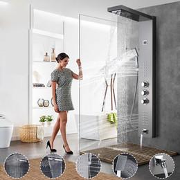Wholesale Panel Bath - Shower PanelsThermostatic Shower Panel Rain Waterfall Shower Head Massage Jet Three Handles Mixer Tap Bath Faucets