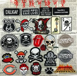 Wholesale Skull Iron Embroidered Patch - GP-57 Marine Corps skull embroidered patches Iron On Patch Skull and Bones Made of Cloth Guaranteed punk Appliques sew on patch Poker