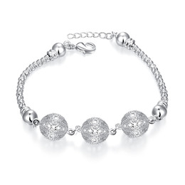 Wholesale Flowers Free Delivery - Best Sale New Ball Shaped Silver Plated Bracelet Bangle, 8 inchs Fashion Silver Wome Luxury Bracelets, Fast Delivery and Free Shipping