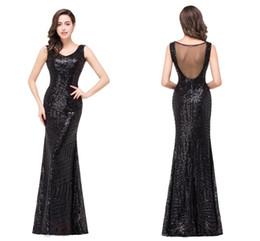 Wholesale Sequined Designer Evening Dresses - 2016 Vintage Mermaid Evening Dresses Black V Neck Sheer Backless Sweep Train Celebrity Evening Prom Gowns Real Photos CPS371