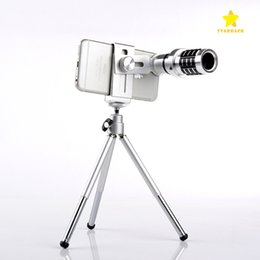 Wholesale optical zoom mobile - Telescope Camera Lens 12X Optical Zoom No Dark Corners Mobile Phone Telescope Tripod for iPhone 6 7 Galaxy S7 S8 with Retail Package