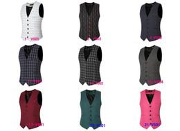Wholesale Nylon Ribbon Designs - 2016 New Men's Business Suit Slim Formal Casual Waistcoat Vest Fit Suits Wedding Costumes