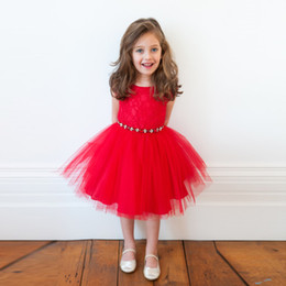 Wholesale Embroidered Dress Rhinestones - Girls Xmas Sleeveless Princess Dress Flower Embroidery Red Lace dress with Rhinestone ornaments for Christmas Party Performance Ball 2-5T