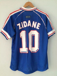 Wholesale Retro Boy Top - ^_^ Wholesale 1998 FRANCE retro soccer jerseys home top thai 3AAA qcustomzied name number zidane Henry soccer uniforms football shirts
