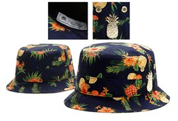 Wholesale Cayler Sons Fitted Hats - Cheap Flower Fruit Print Cayler & Sons bucket caps Navy Blue fisherman's hats Famous brand men fisher cap women hiphop fishing hat TYMY