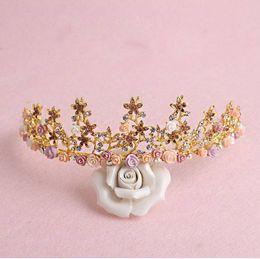Wholesale Wedding Floral Tiara - Luxurious Crown Women Crystal Floral Tiara Jewelry Golden Bridal Crown Hairwear Wedding Photography Accessories