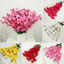 Wholesale Peach Wedding Bouquets - 70 Heads Wedding Artificial Peach Blossom Silk Fake Flowers Bouquet Home Decor E00472
