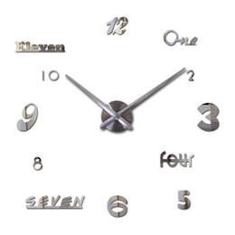 la venta al por mayor relojes de acrlico diy modernos grandes de la etiqueta engomada del cuarzo del espejo del reloj de pared de la decoracin del