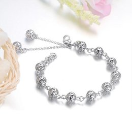 Wholesale Sterling Silver Ball Link Chain - Pure 925 Sterling Silver Full Three-dimensional Ball Charm Bracelets Bangles Fashion Jewelry Best Gift for Women