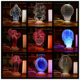 Wholesale Roses Light Bulbs - 3D Visual Bulb Sculpture Optical Illusion Usb LED Table Lamp Touch Romantic Holiday Night Light Baymax Rose Heart F464