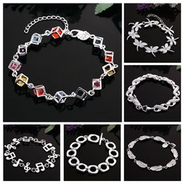 Wholesale Colored Stoned Rings - 2016 Hot Sale Women Bead Bracelets Elegant Colored Stone Silver Charms Bracelets For Women Fashion Jewelry Statement Bracelet