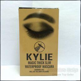 Wholesale Slimming Tube Wholesale - 2016 New Kylie Mascara Charming eyes Magic Thick Slim Waterproof Mascara Gold tube Free Shipping 12pcs box