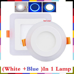luces de techo de doble led Rebajas Luces led empotrables de dos colores (blanco + azul) 6w 9w 16w 24w luces empotradas en el techo luces empotradas de techo ac 85-265v