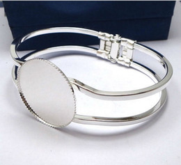 Wholesale Brass Discs - Min Order 20pcs Wholesale Silver Plated 25mm Cabochon Setting Disc Cuff Bangle&Bracelets Blank Findings for Jewelry Making