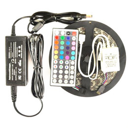 Wholesale Color Controllers - 5M 5050 SMD rgb LED Strip light Flexible Waterproof 16FT multi color with 44 key IR REMOTE Controller With Power Adapter Full Set