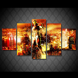2019 eisen mann cartoon bilder 5 Panel HD Gedruckt Iron Man fliegen in der luft Malerei Leinwanddruck raumdekor druckplakat bild leinwand Freies verschiffen rabatt eisen mann cartoon bilder
