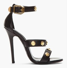 Wholesale Cheap High Sandals - 2016 Real Image Womens Summer Style High Thin Heels Buckle Strap Fashion Party Evening Shoes Cheap Modest Plus Size Custom Made Sandals