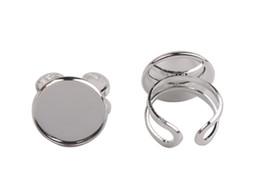 Wholesale Ring Base Cabochon - 10 PCS Silver Plate 20mm Cabochon Settings Base Rings #92523