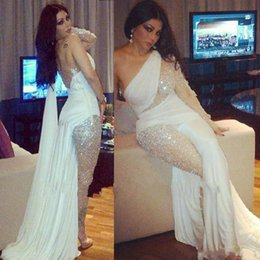 Wholesale One Shoulder White Maxi Dress - 2017 Most Popular Myriam Fares Evening Dresses With Pants Long Sleeve Maxi Robe Crystals See Through Prom Gowns Red Carpet Celebrity Gowns
