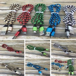 Wholesale Universal Zebra - 2017 Micro Cable Zebra Grain Braided Nylon High Speed USB 3.3ft Sync Data Cord for 7 6 plus with Opp Bag DHL free CAB196